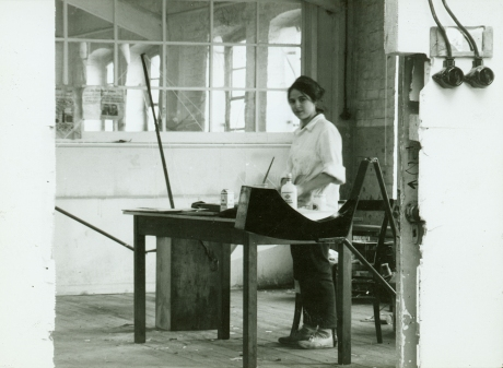 Eva Hesse in Textile Factory Studio, Kettwig, Germany, 1964. Photographer unknown. From Eva Hesse (2016), dir. Marcie Begleiter.